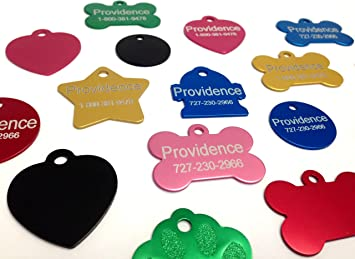 Amazon.com : Anodized Pet ID Tags - Choose from Bone, Round, Heart ...