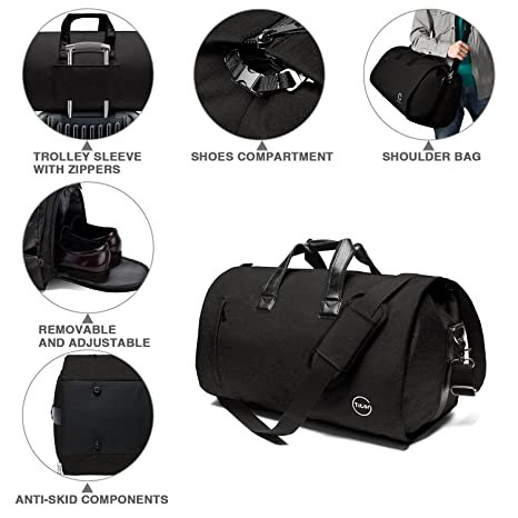 Amazon.com   Crospack Garment Bag for Travel Suit Bag Duffle for Men Weekender Handbag with Shoe Compartmen Black   Travel Duffels