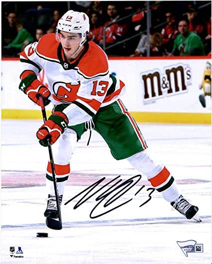 Nico Hischier New Jersey Devils Autographed 8 x 10 Alternate Jersey Skating Photograph Fanatics Authentic Certified