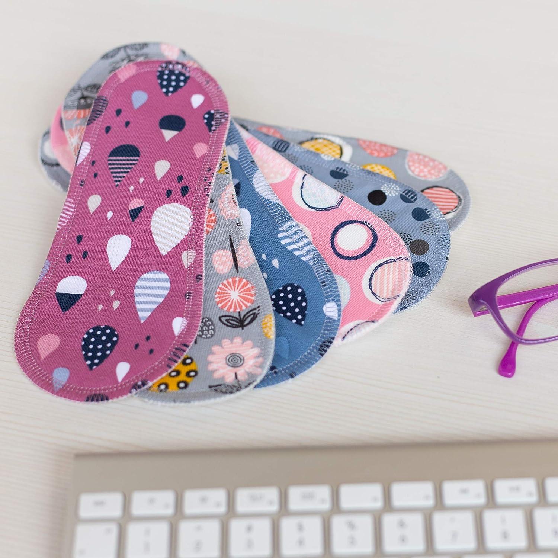 Compresas de tela reutilizables, pack de 6 compresas ecologicas de algodón puro con alas (de tamaños L y XL) HECHAS EN LA UE para menstruación, postparto, ...