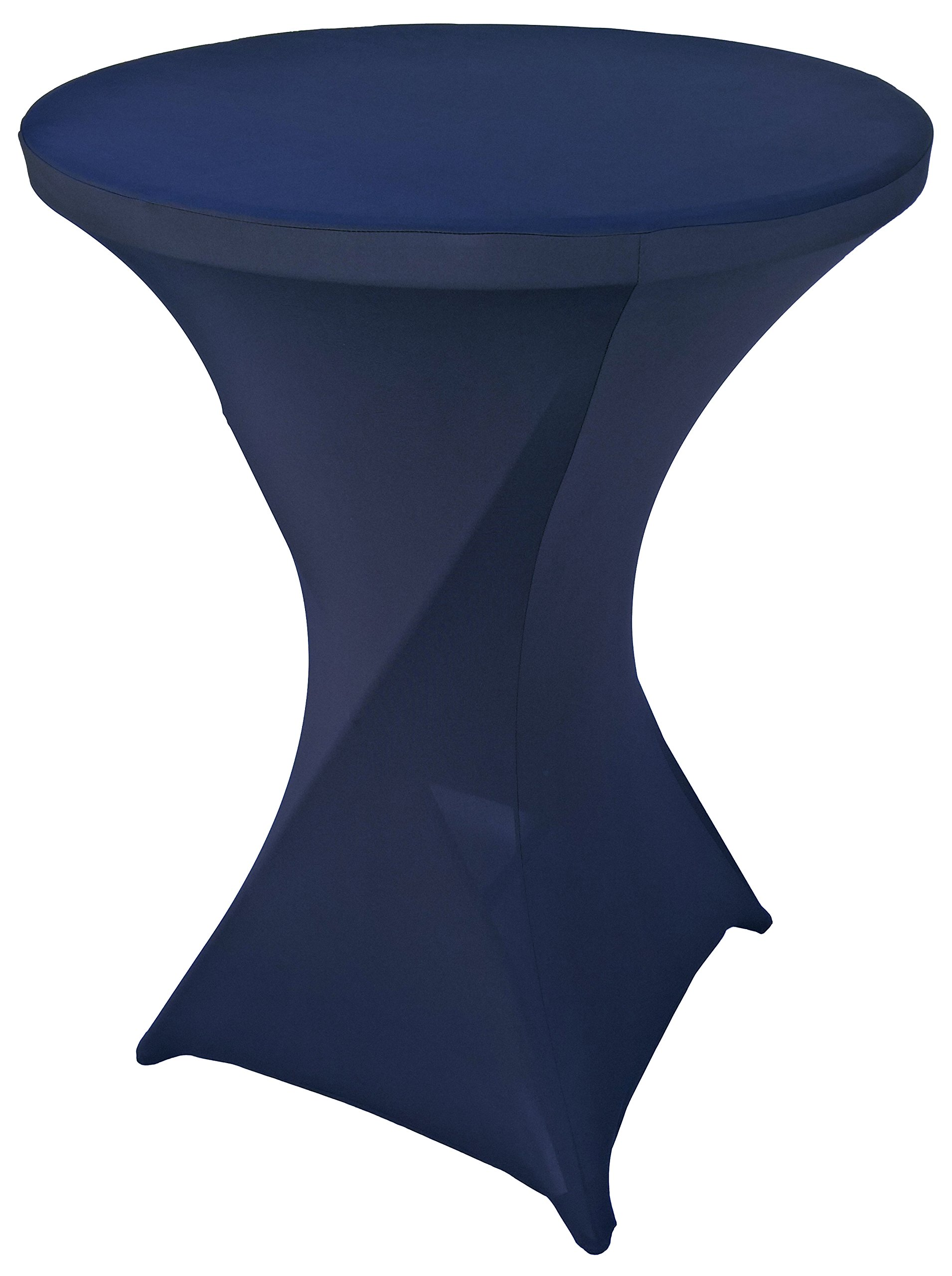 Goldstream Point Navy Blue 32 Inch Round x 43 Inch Tall Spandex Cocktail Tablecloth Folding Cover Stretch