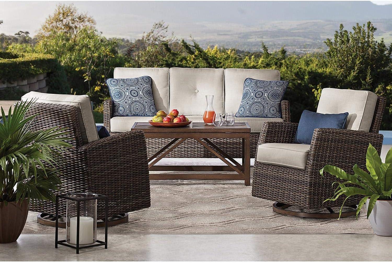 Amazon Com Members Mark Agio Fremont 4 Piece Patio Deep Seating Set With Sunbrella Fabric Silver Garden Outdoor