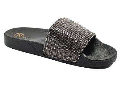 e10b1ac60b5e3 Golden Road G.N.D Women s Fancy Slide Rhinostone Slide Flip Flops Flat  Sandal Slippers  295 (