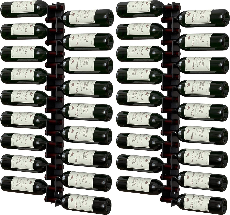 Y-Furniture Wall Series - Wall Mounted Wine Rack for 18 Bottles, Label Forward, Powder Coat Paint, Modern Stylish (Satin Black (2))