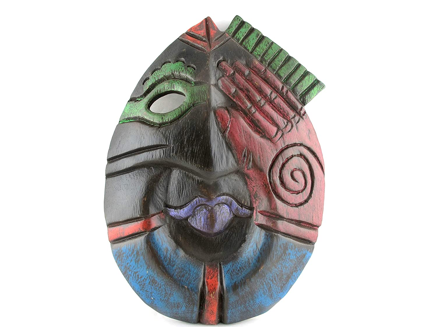 Amazon com: Blue Orchid Hand Carved Wood African Tribal Mask Wall