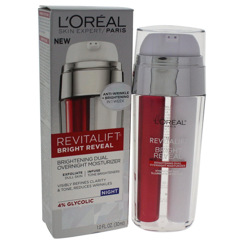 L'Oréal Paris Skincare Revitalift Bright Reveal Dual Overnight Face Moisturizer with Glycolic Acid, Anti-Wrinkle and Brightening Night Treatment, 1 fl. oz. L' Oreal - Skincare
