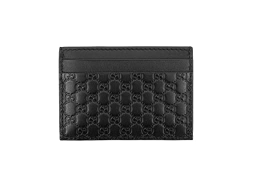 buy popular 38c51 33d6a Gucci Microguccissima Signature Leather Card Case Wallet, Black ...
