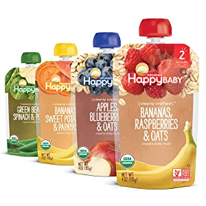 Happy Baby Organics Clearly Crafted Stage 2 Baby Food Variety Pack ( Bananas, Raspberries & Oats; Apples, Blueberry & Oats, 4 Ounce Pouch (Pack of 16)