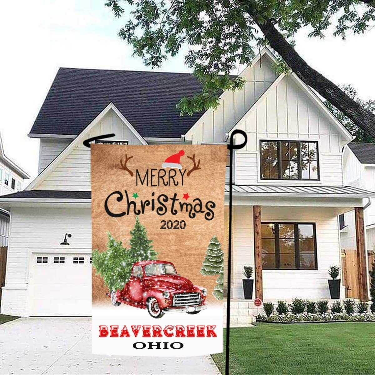 Merry Christmas Garden Flag Red Truck 2020 Beavercreek Ohio State - Rustic Winter Garden Yard Decorations, Outdoor Flag 12x18 Inch Double-Sided for Home, Garden (Not Included Stand)