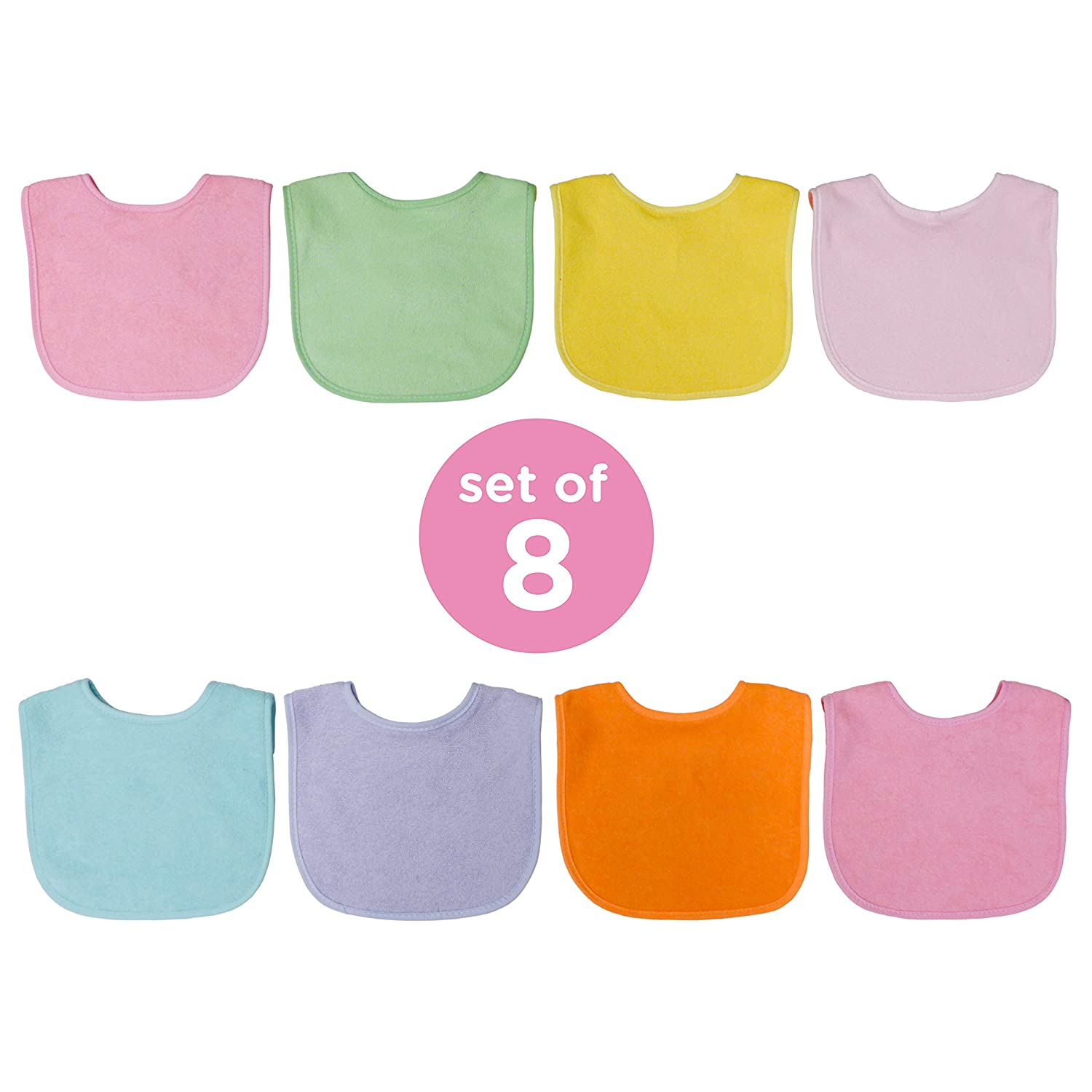 Baby Feeding Neat Solutions 8 Pack Multi-Color Solid Knit Terry Feeder Bib Boy