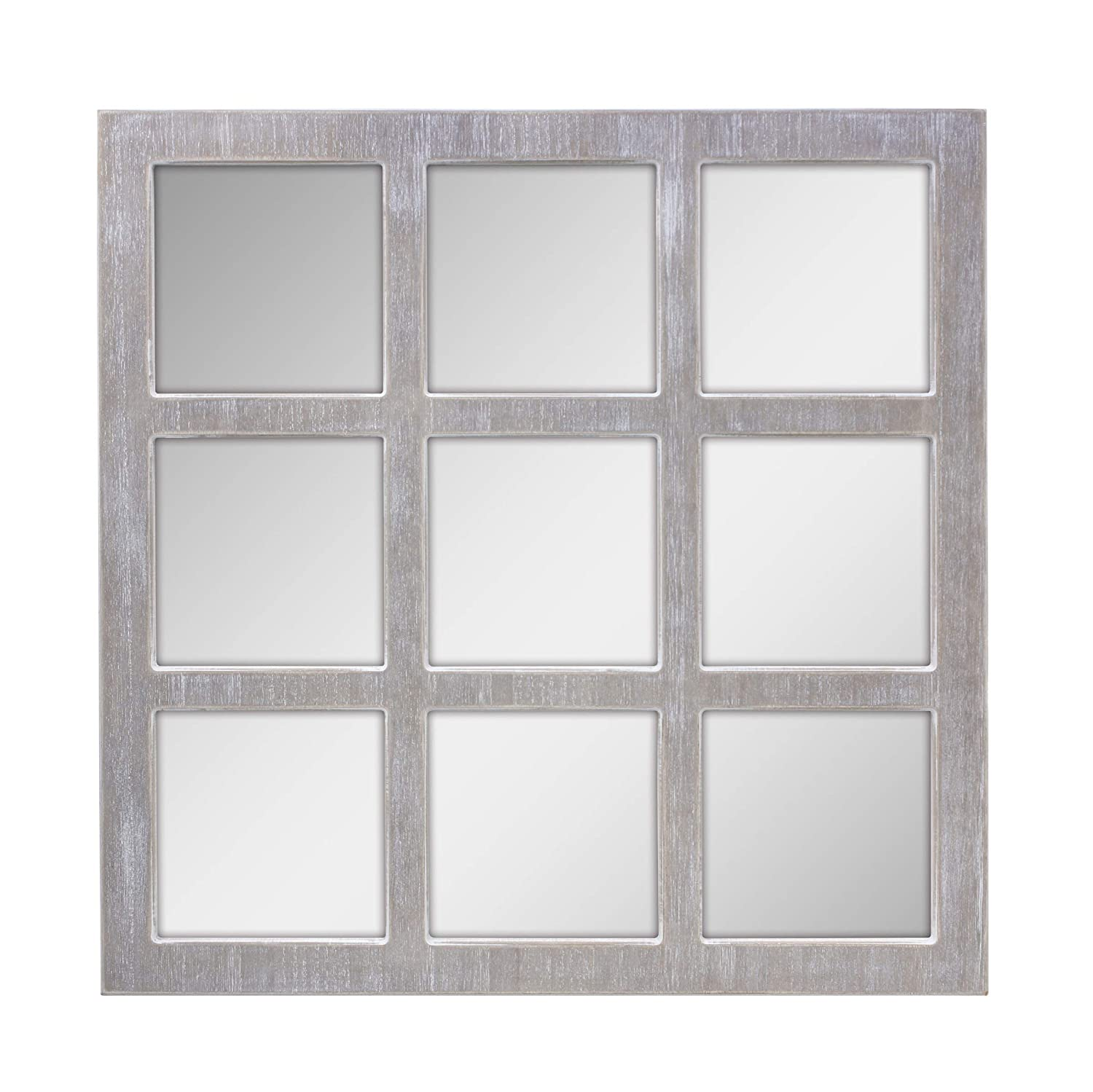 Stonebriar Square Rustic 9 Panel Window Pane Hanging Wall Mirror with Worn White Finish and Attached Mounting Brackets, Decorative Farmhouse and Coastal Home Decor Accents