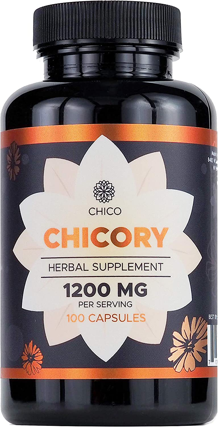 Chicory 100 Capsules 1200 mg per Serving | Filled with Organic Chicory Root Powder | Inulin Powder | Support Digestion, Colon Health, and Guts Function | Gluten-Free | Non-GMO