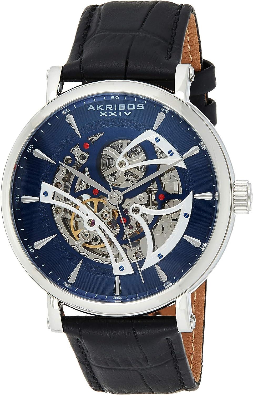 Akribos AK1020 - Reloj automático de esqueleto mecánico, correa de cuero genuino en relieve de cocodrilo - Reloj de pulsera automático mecánico esqueletonizado con esfera transversal