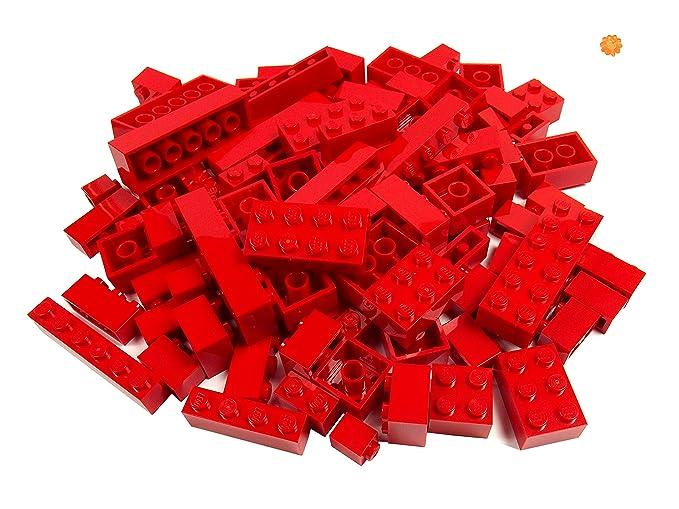 LEGO® - 100 briques Lego de différentes tailles - briques rares inclus! - Nouveau (rouge)