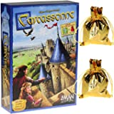 Carcassonne Game (New Edition)_ for 2 to 5 Players _ Includes River Expansion & The Abbot Expansion _ Bonus 2 Gold Drawstring Storage Bags by Z-Man Games