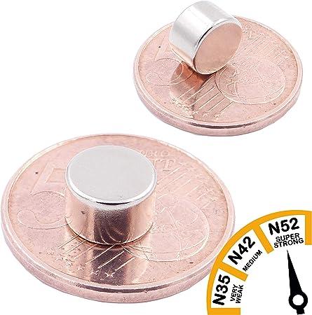 Artisanat 10 Mini Aimants Disques 8x6mm Photo Disque Extra Forte N52 Niveau Le Plus Forte Aimant de Puissance pour mod/élisme Tableau Blanc Aimants en n/éodyme Ultra Fortes Brudazon