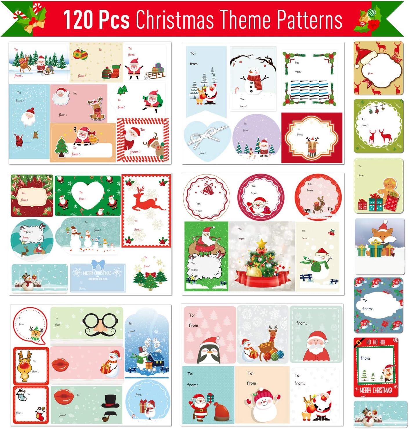 Joyjoz Pegatina de Regalo para Navidad 120 Pcs, Etiquetas autoadhesivas de regalo de Navidad, Etiquetas decorativas de regalo para Navidad Cumpleaños Festival Boda Vacaciones