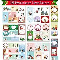 Joyjoz Étiquette Cadeau Noël 120 Pcs, Étiquettes autocollantes Auto-adhésives pour vacances de mariage au festival anniversaire de Noël