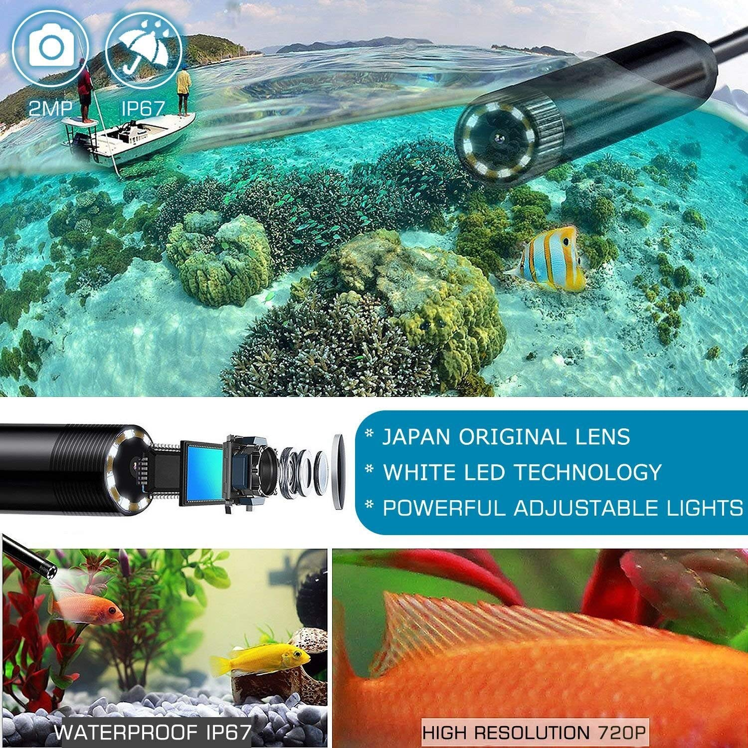 WiFi Endoscope Camera 16.4FT Focal Length HD 2.0 MP Waterproof Wireless Snake Camera With Flexible Grabber Pick-up Tool USB Borescope Camera for Android,IOS,iPhone 5M IPS IP SMART Inspection Camera