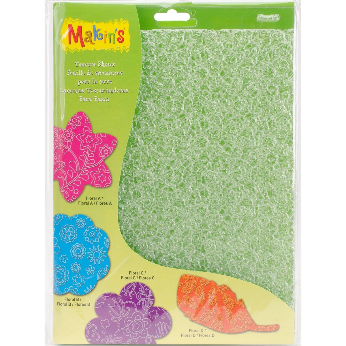 Makin's USA 38051 Feet s Clay Texture Sheet Sets 4/Pkg-Floral