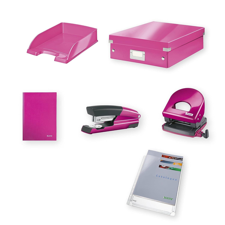 Leitz Home Office Kit Pequeño, Cuaderno, Grapadora, Perforadora, Cuaderno, Pequeño, Accesorios de almacenamiento y Fundas de plástico de regalo, Fucsia metalizado, WOW, 94790023 585ac0
