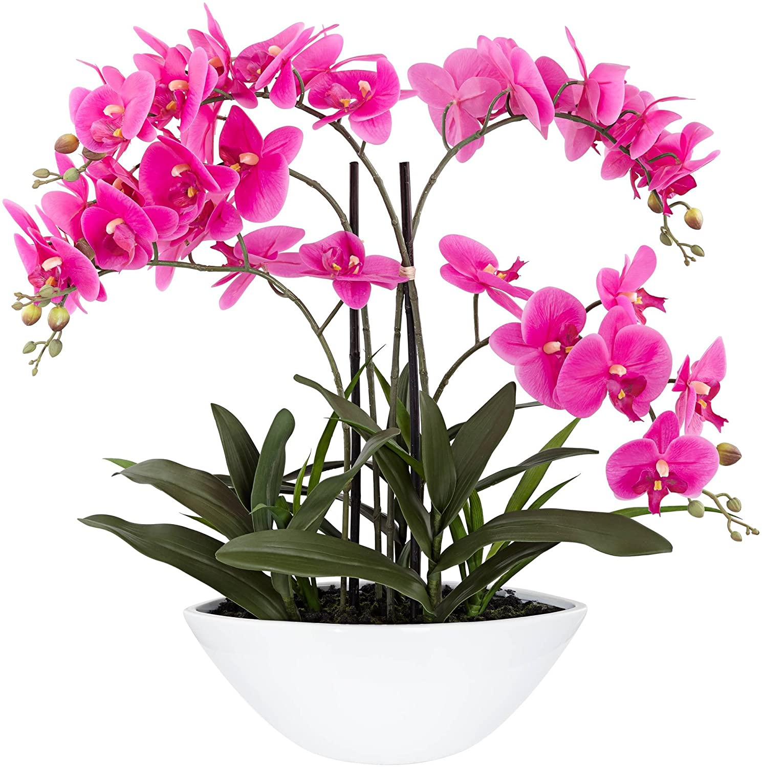 "Dahlia Studios Real Touch Pink Orchid 28"" High Faux Flowers in White Pot"