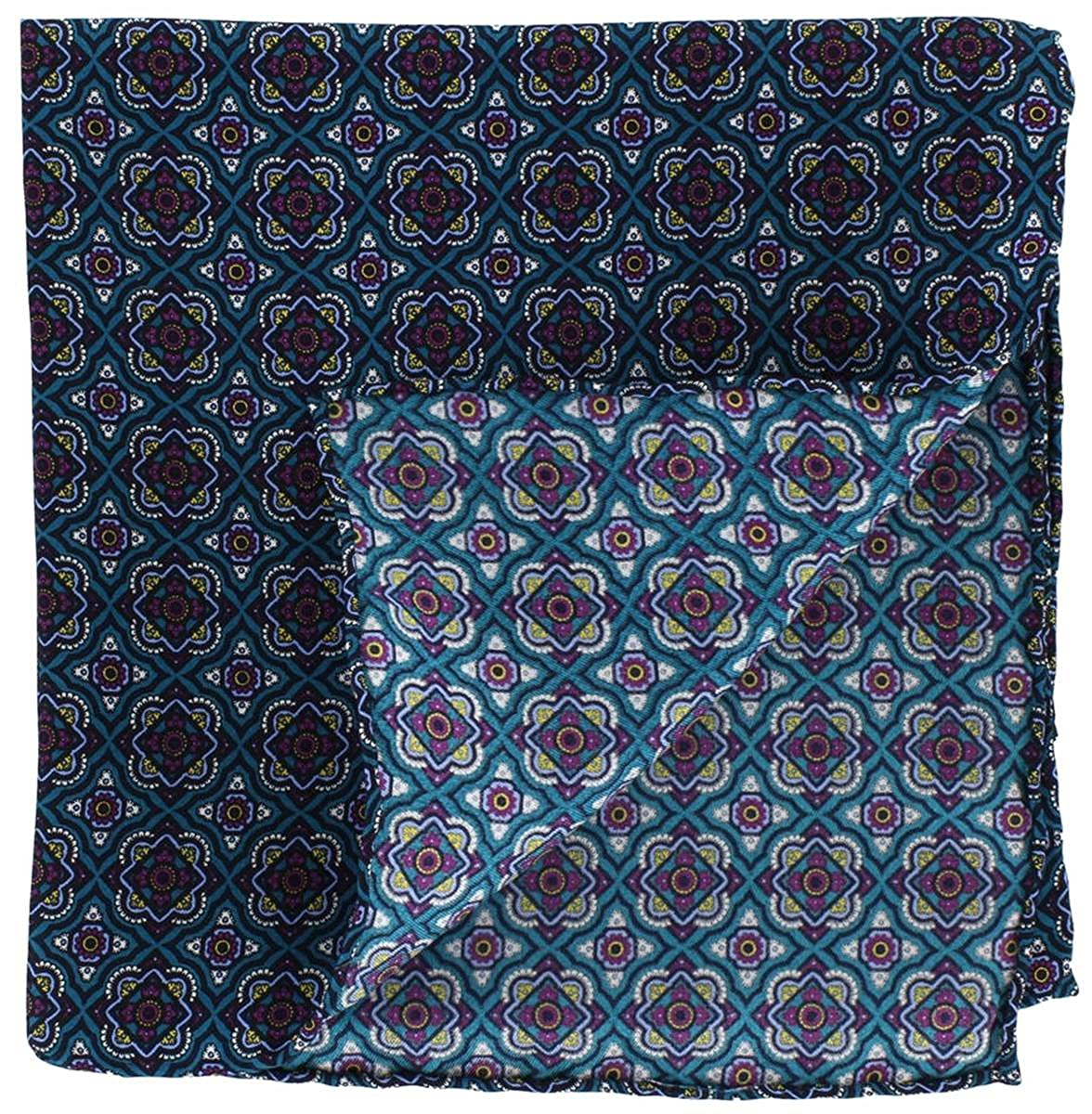 Michelsons of London Mens Bold Medallion Silk Pocket Square Teal