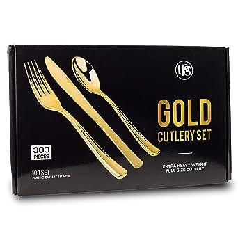 Amazon.com: Juego de cubiertos de plástico dorado ...
