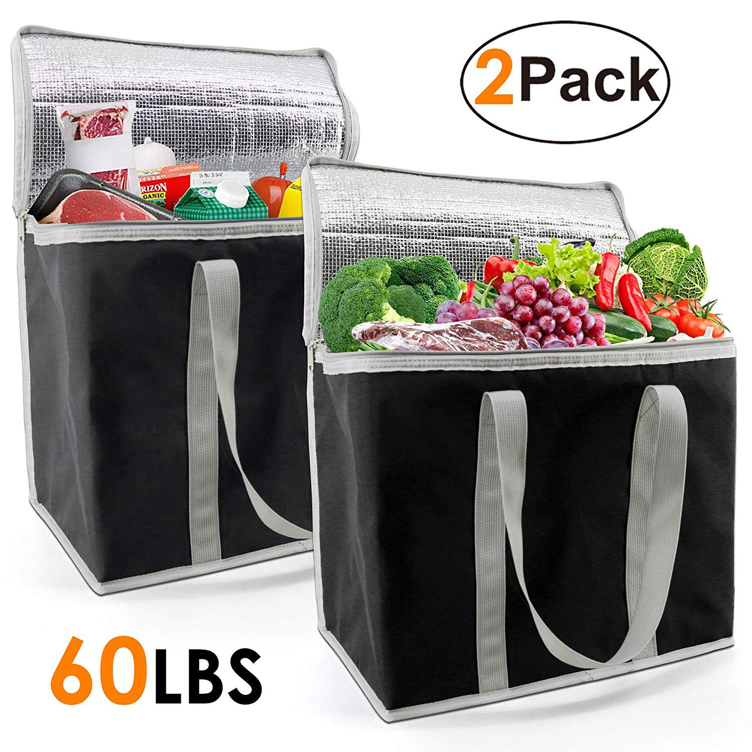 Insulated-Grocery-Bags-Shopping-Cooler-Thermal-Tote 2 Pack for Hot Cold Frozen Food Transport X-Large 60LBS Reusable and Durable with Zipper Top Long Handles Collapsible Black by BeeGreen