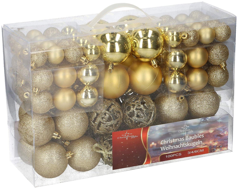 shine Weihnachtskugeln 100 St/ück 3//4//6 cm /& Shatter Proof Weihnachtsbaum Dekoration