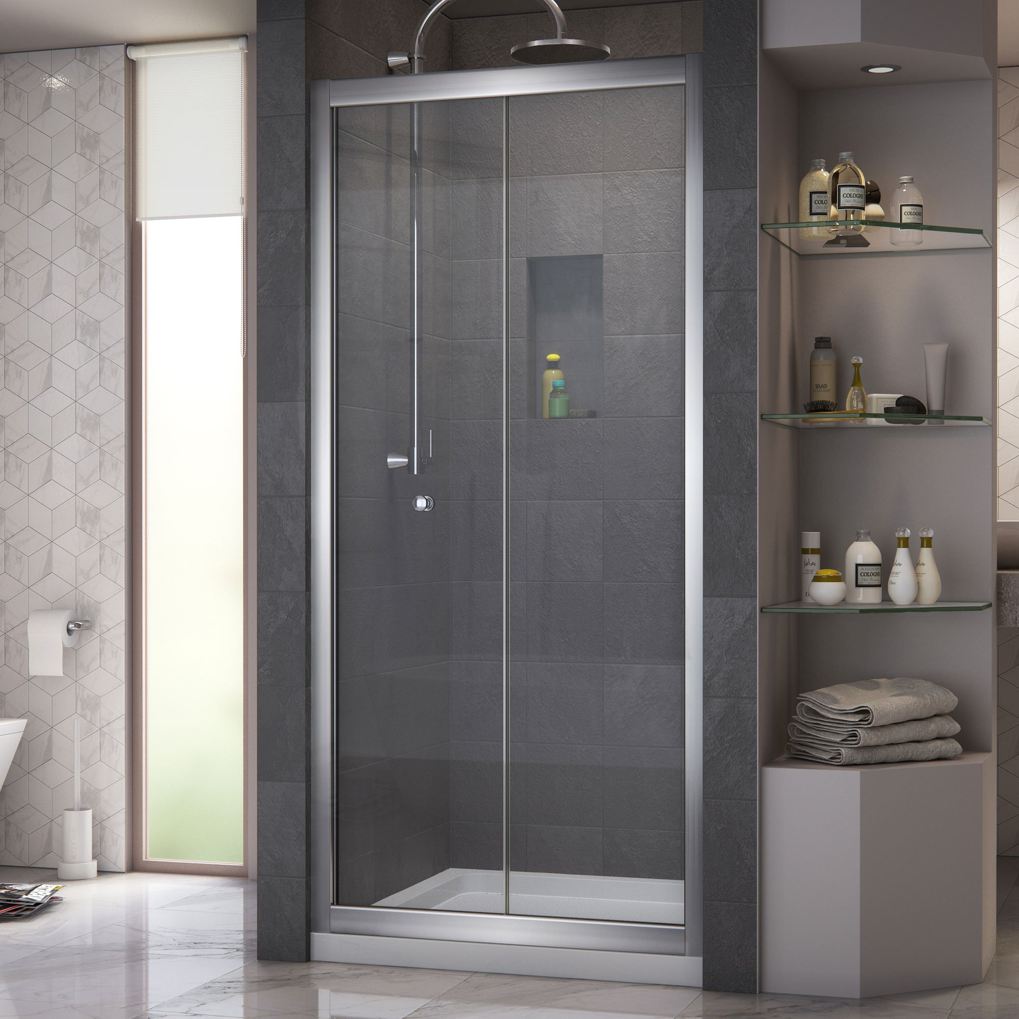 DreamLine Butterfly 34-35 1/2 in. Width, Frameless Bi-Fold Shower Door, 1/4'' Glass, Chrome Finish by DreamLine (Image #4)