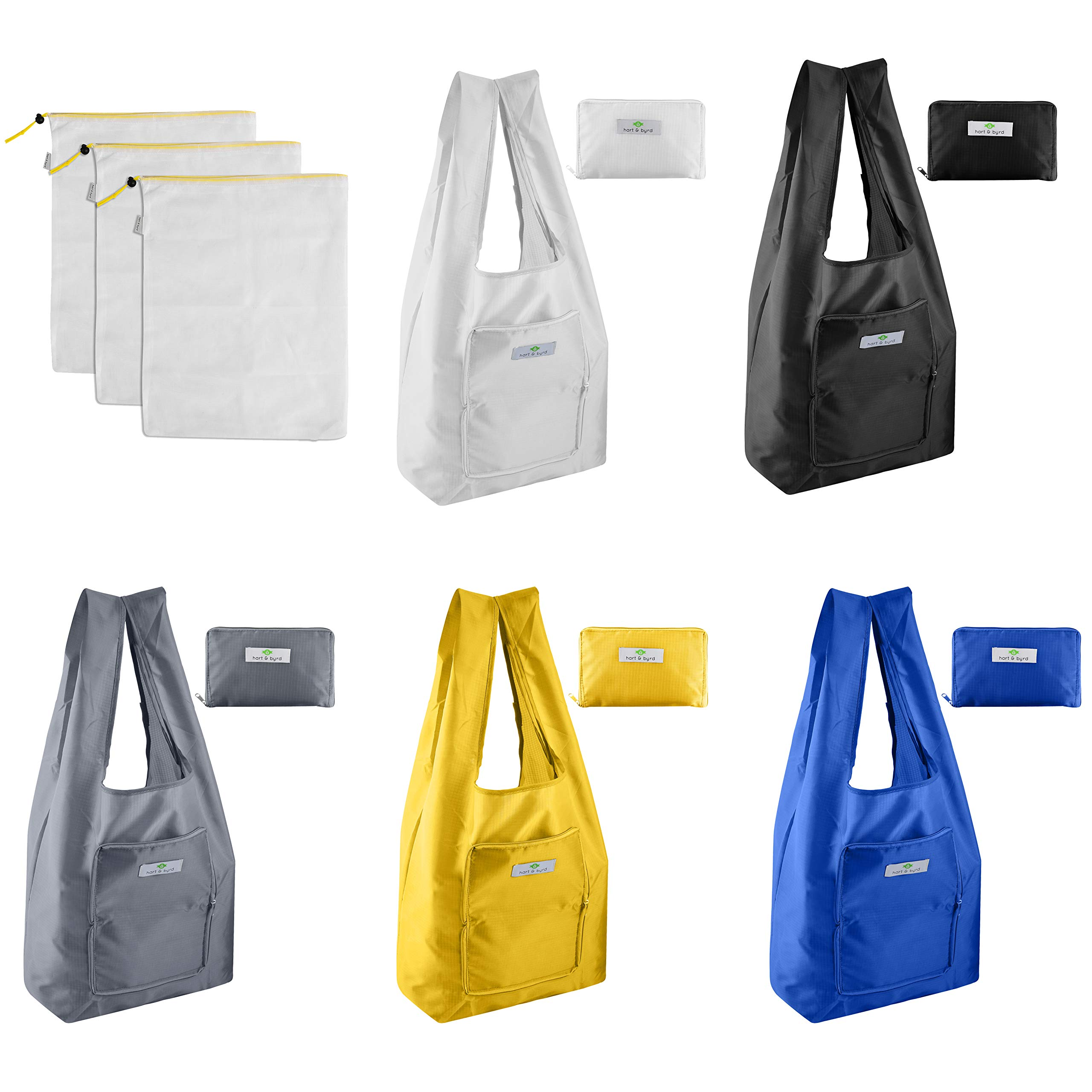 Set of 5 Reusable Zippered Grocery Shopping Bags With 3 Large Mesh Produce Bags For Sustainable Shopping | Lightweight and Sturdy Washable Nylon In 5 Colors Foldable Into Attached Pouch