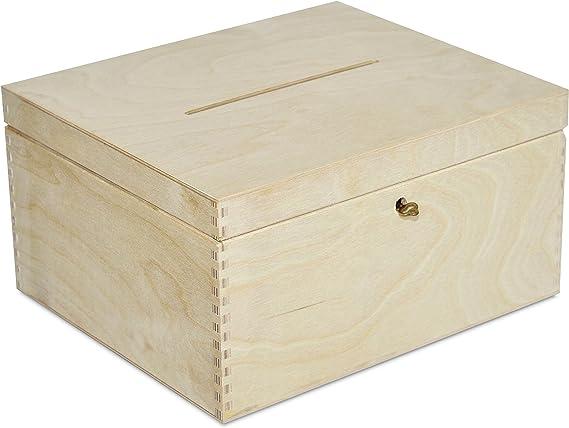 Creative Deco Boda Caja Madera | Cerradura y Llave | 29 x 25 x 15 ...
