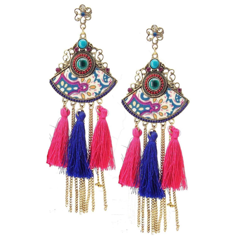 9blings Sky Blue Designer Feroza Aztec Cz Tassel chain Long Dangle Earring