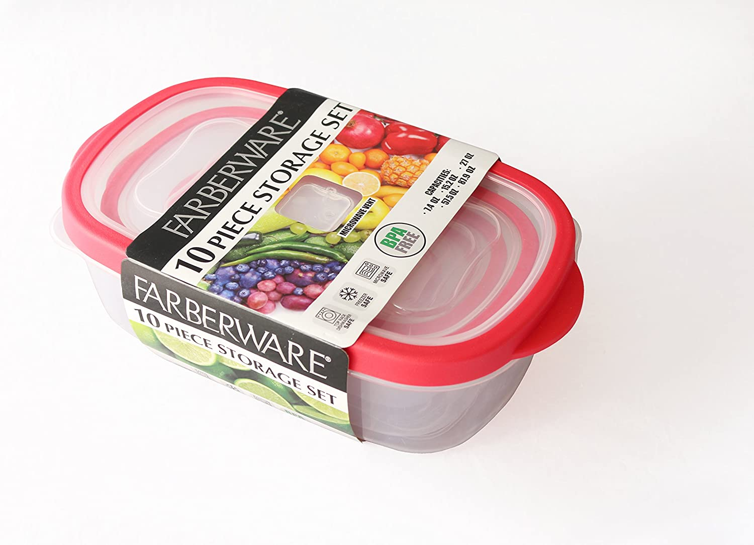Farberware 10 Piece Plastic Rectangle 'Vented' Nesting Set, Red Food Storage