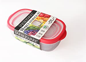 Farberware 10 Piece Plastic Rectangle 'Vented' Nesting Set, Red Food Storage
