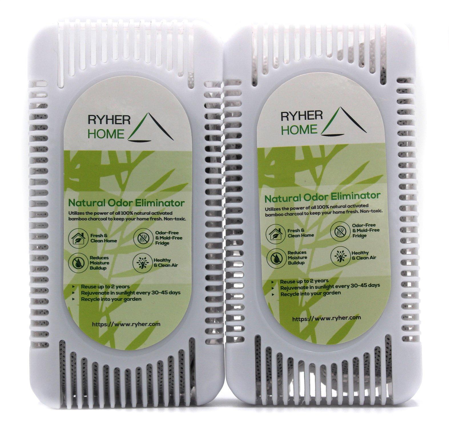 Ryher 2X Absorbe y Elimina olores del frigorífico – Ambientador y purificador de Aire de carbón