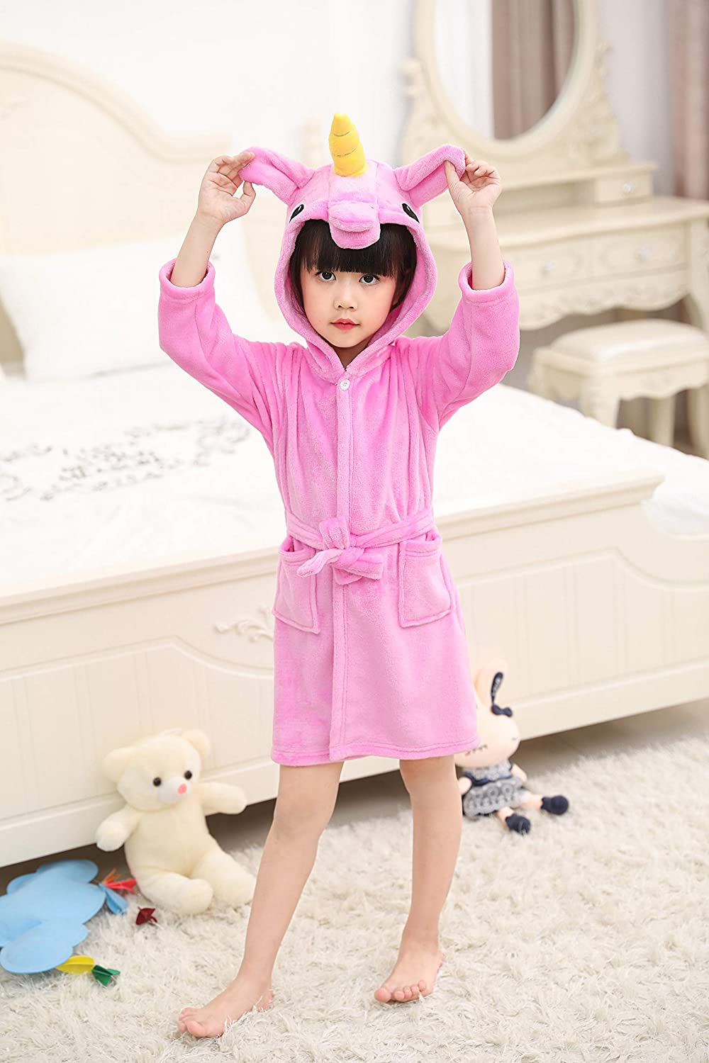 Ecommercer Trade Girls Star Unicorn Bathrobe Dressing Gown 3D Horn Magical Purple Pink Yellow PJ's Pyjamas (Mermaid Unicorn, Age 6-8) Ecommerce Trade Ltd