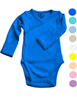 Boys Girls Baby Bodysuit made with Organic Cotton - Kimono Style with Side Snaps and Gloved Sleeve