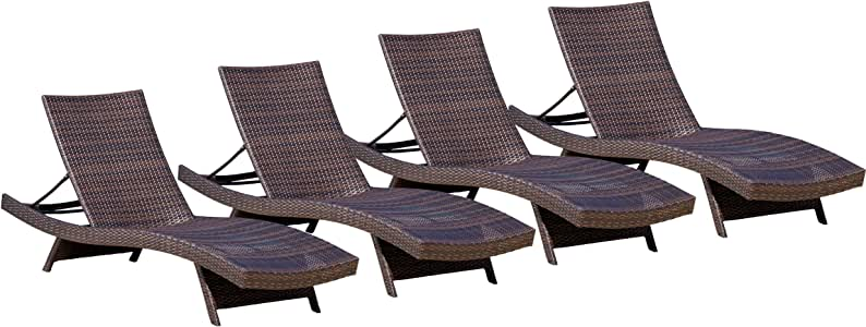 Christopher Knight Home Toscana Outdoor Wicker Lounges, 4-Pcs Set, Multibrown
