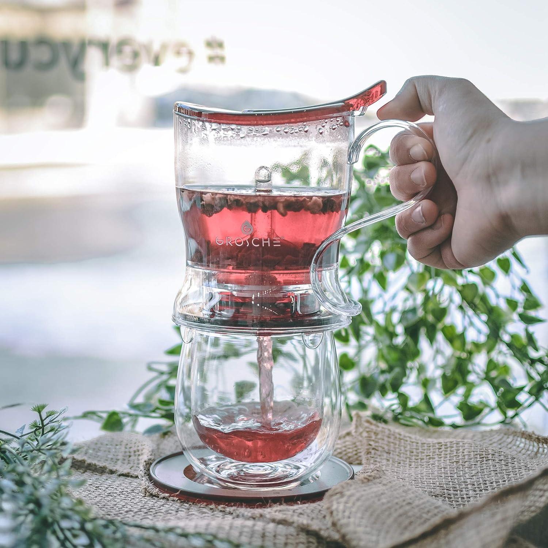BPA-Free 525 ml NO DRIPS! Tea Infuser Tea Steeper 17.7 oz EASY CLEAN Steeper GROSCHE Aberdeen PERFECT TEA MAKER set with coaster Teapot