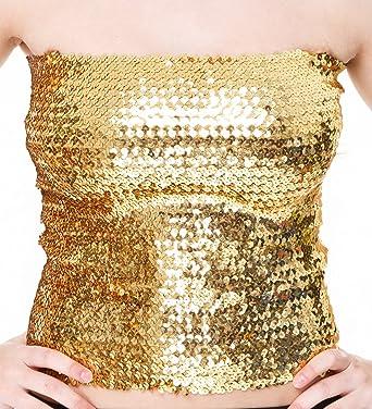 Gold sequin boob tube