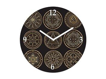 Reloj de Pared de Vidrio - Cuadro de Cristal con Reloj - Reloj Decorativo Pared en múltiples diseños; TG12 Serie Tribal: Símbolos esotéricos místicos: ...