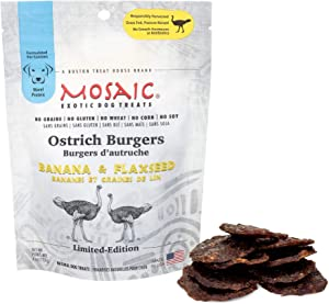 Mosaic Ostrich Burgers Exotic Dog Treats - Banana and Flaxseed - Gourmet Real Jerky, Novel Protein, Hypoallergenic, All Natural, No Grains - A Better Source of Protein