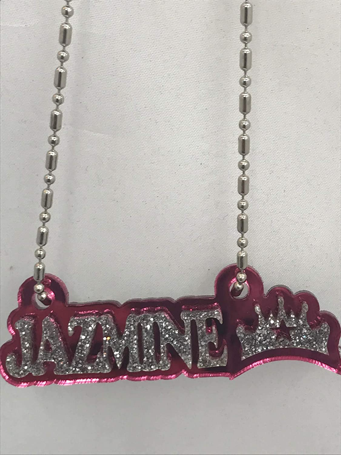 Made to Order Any Name Dazzling and Stunning! Diamond Look Mirror Mania Personalized Name Plate Custom Name Necklace Nameplate Name Laser Cut