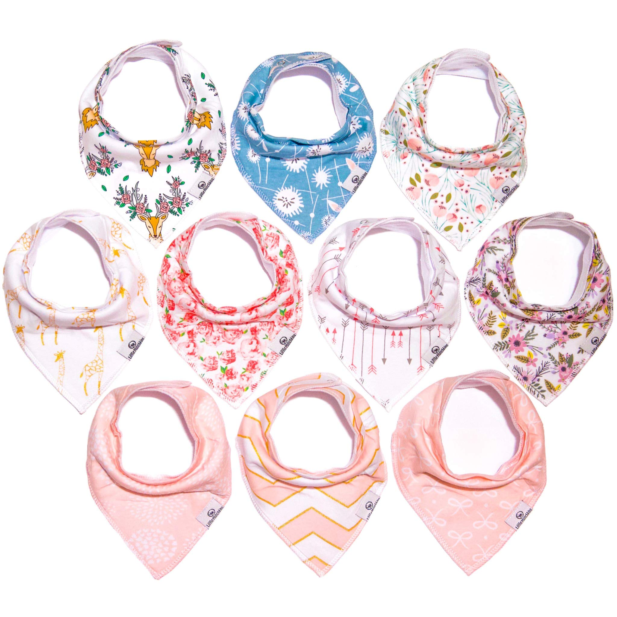 Little Munchkins 10 Pack Baby Bandana Drool Bibs for Girls - Organic Cotton - Absorbent - Soft- Teething Drool Bibs Set by Desi's Trendy Little Munchkins