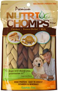 """Nutri Chomps - Large 6"""" Twists Rawhide-Free Assorted Flavor - 4 Count"""