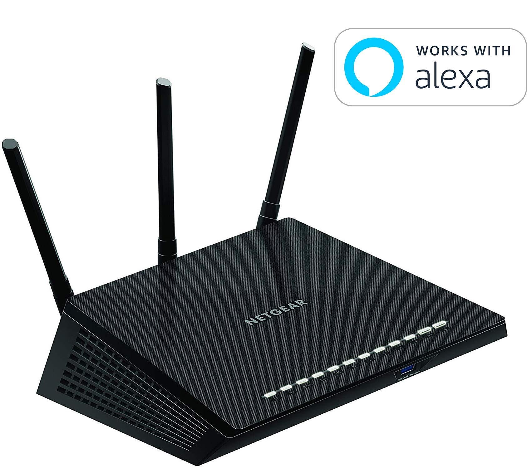 NETGEAR Smart WiFi Router with Dual Band Gigabit for Amazon Echo/Alexa - AC1750 (R6400-100NAS) by NETGEAR
