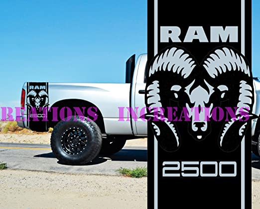 for Dodge Ram or Dakota 4x4 Truck Bed Decals Set CHROME