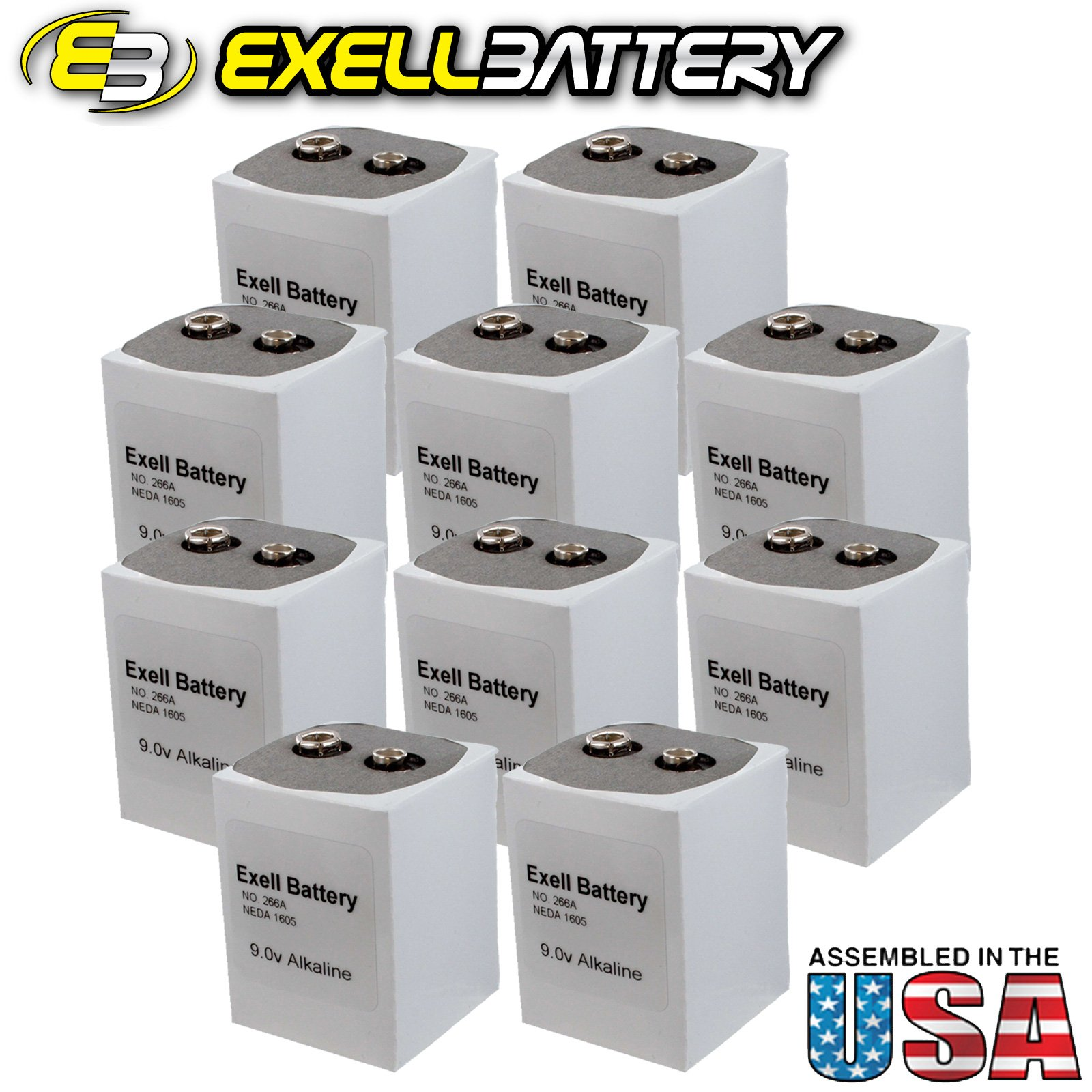 10pc Exell 266 Alkaline 9V Battery NEDA 1605, PP7, 6F90